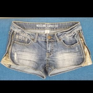 Mossimo Distressed Zip Sequin Side Jean Shorts, 7